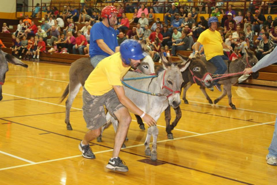 City employees riding and leading donkeys during the donkey ball game