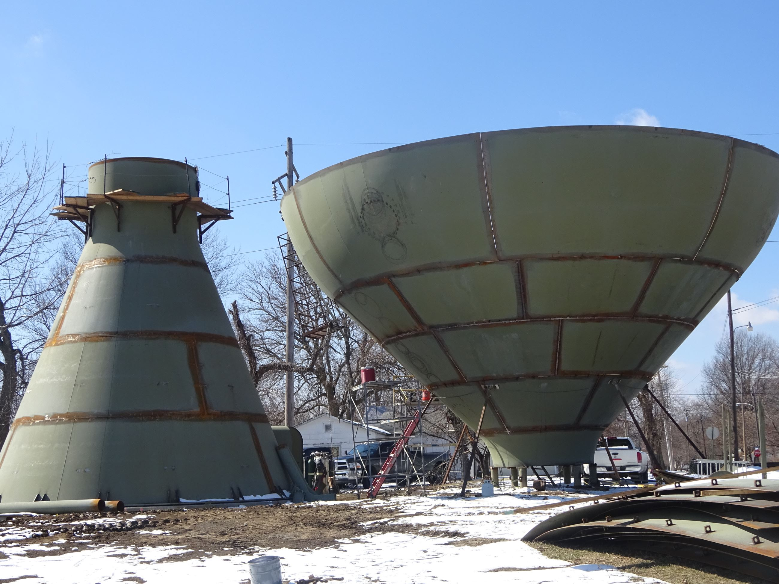 Close up of parts of East Water Tower during construction
